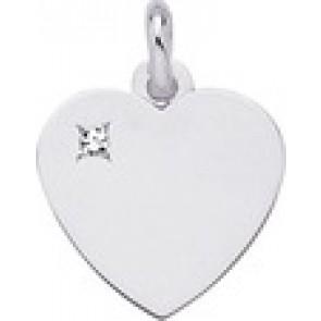 Pendentif coeur et diamant (Or Blanc)