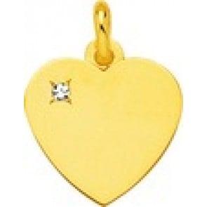 Pendentif coeur or et diamant (Or Jaune)