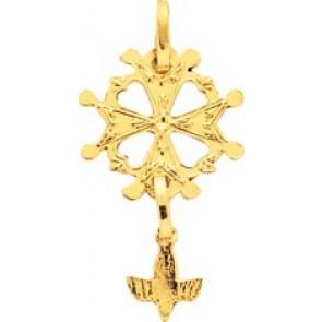 Pendentif Croix Huguenote ajourée (Or Jaune)