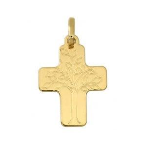 Pendentif Croix large Arbre de Vie (Or Jaune)