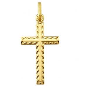 Croix guillochée  (Or Jaune)