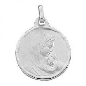 Médaille Vierge à l'enfant (Or Blanc 9k)